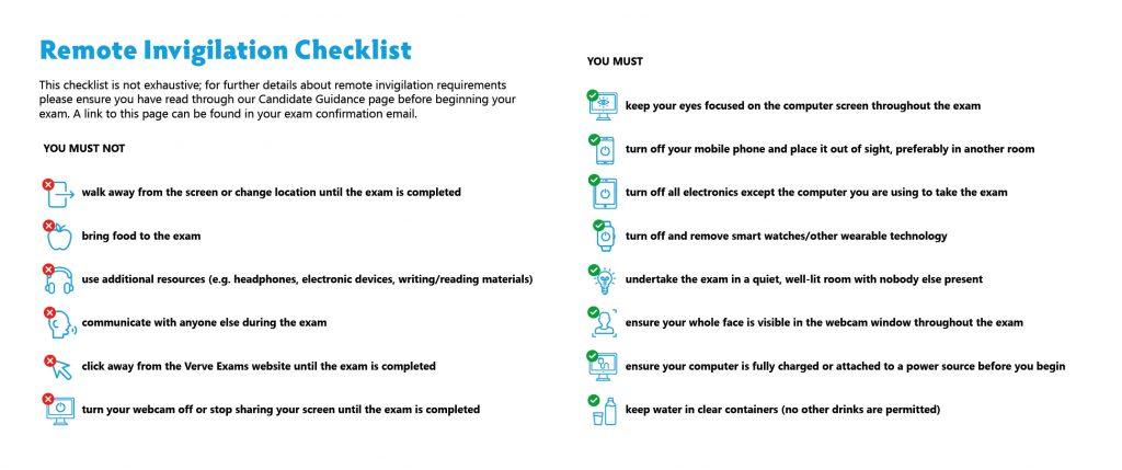 AO Remote Invigilation Checklist